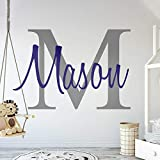Custom Name & Initial - Premium Series - Baby Boy - Wall Decal Nursery for Home Bedroom Children (M511) (Wide 30' x 20' Height)