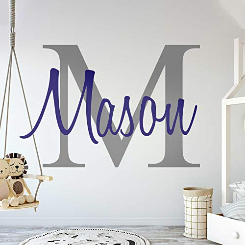 (Custom Name & Initial - Premium Series - Baby Boy - Wall Decal Nursery for Home Bedroom Children (M511) (Wide 22