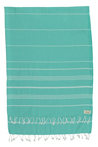 Bersuse 100% Cotton - Anatolia XL Throw Blanket Turkish Towel Pestemal - Bath Beach Fouta Peshtemal - Multipurpose Bed or Couch Throw, Table Cover or Picnic Mat - Striped - 61X82 Inches, Mint Green ()