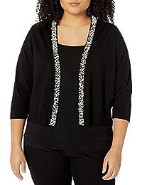 Calvin Klein Womens Plus Size Shrug with Pearl Detail Dress