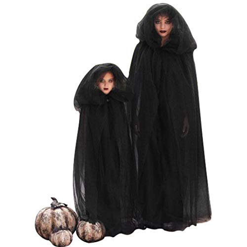 Halloween Hooded Cape Kids Christmas Renaissance Black Medieval