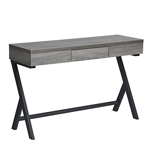 Homy Casa | Office Laptop Computer Writing Desk | Compact Slim Entryway/Hall Utility Side Console Table | Multipurpose Use for Guest Or Living Room, Bedroom Or Office | Gray MDF Wood Metal Tube Legs