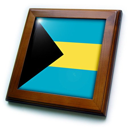 3dRose ft_158449_1 Flag of The Bahamas Islands. Bahamian Blue Yellow Gold Stripes Black Triangle Country World Souvenir-Framed Tile Artwork, 8 by 8-Inch