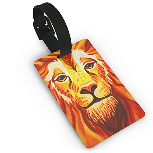 Luggage Tags With Genuine Hand Strap Lion Face Paint Travel Suitcase Bag Tag Identify Label ()
