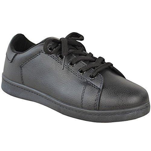 Neuf Pour Femmes Baskets Plates Escarpins Talon Haut À Lacets Baskets Confortable Chaussures Décontractées Pointure Simili-cuir Noir RGYkZ