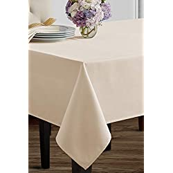 """Benson Mills Beauvalle Extra Wide Spillproof Tablecloth (68"""" X 84"""" Rectangular, Ivory)"""