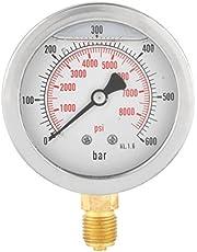 """Medidor de presión de gas analógico de 63 mm, 0 – 600 bar 0 – 8500 psi para agua de aire de dial, instrumento de entrada G 1/4"""""""