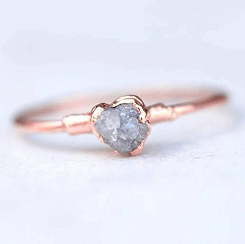 Stackable Raw Diamond Ring, Size 8, Rose Gold, Rough Grey Diamond ()