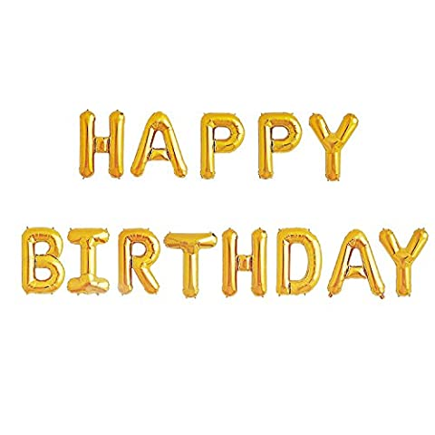 Happy Birthday Balloons Banner - Gold Mylar Foil Letter Balloons for Kids Girl Adult Baby 1st 2nd 3rd Birthday Party Decoration With 13 Balloons HAPPY BIRTHDAY,3 Free Straws,Free Glue - 1st Birthday Balloon