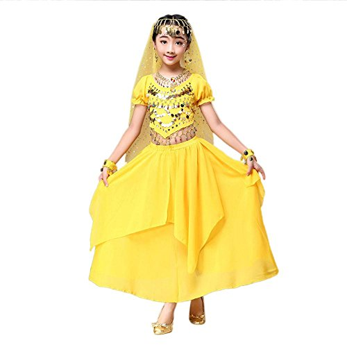 Kids' Costume Foutou Girls Belly India Dance Outfit Clothes Short Sleeve Top+Skirt (M, Yellow)