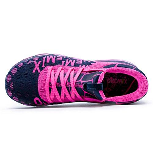 Yidiar Vrouwen Lichtgewicht Luchtkussen Lace Up Ademende Sport Loopschoenen Blauw Rose Rood