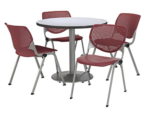 (KFI Seating Round Laminate Top Pedestal Table with 4 Burgundy Kool Series Stack Chairs, 36