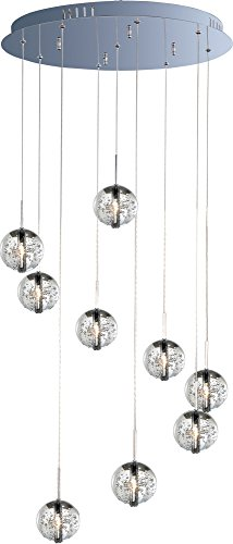 ET2 E24254-91PC Orb 9-Light Multi-Light Pendant, Polished Chrome Finish, Bubble Glass, 12V G4 Xenon Bulb, 35W Max., Damp Safety Rated, 2700K Color Temp., Polished Chrome Shade Material, 5400 Rated Lumens