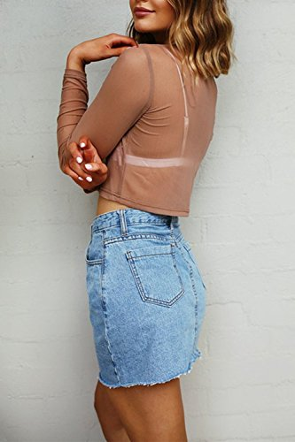 Damen Langarm durchsichtigen Spleiß-t-Shirt Tops