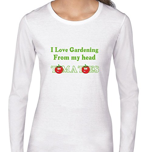 - Hollywood Thread Funny I Love Gardening From Head Tomatoes Women's Long Sleeve T-Shirt