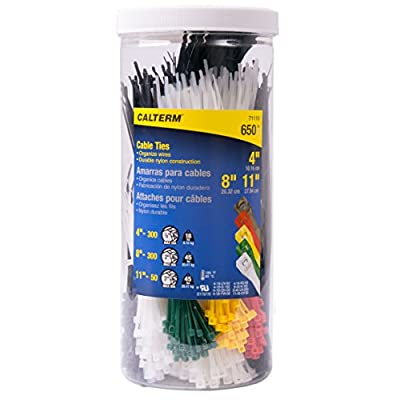 Calterm 71110 4 in., 8 in., & 11 in. Assorted Nylon Cable Tie, Black & Natural