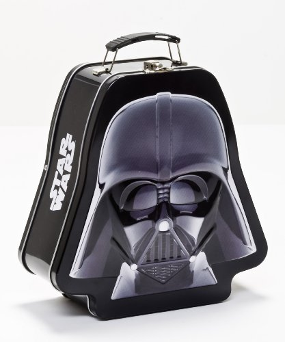 - Vandor 52348 Star Wars Darth Vader Shaped Tin Tote with Embossing, Black/White