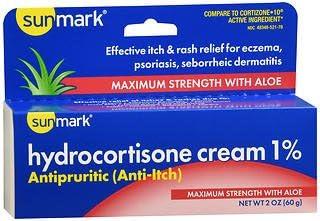 Sunmark Hydrocortisone Cream 1% Maximum Strength With Aloe - 2 oz, Pack of 3