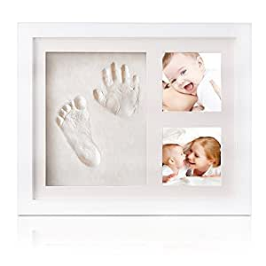 Marcos de foto de bebé handprint y huella, marco de madera bebé con acrílico seguro y no tóxico, seguro arcilla (precio: €)