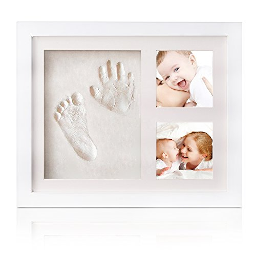 INNOCHEER Baby Handprint and Footprint Frame Kit - Solid Wood Photo Frame with Safe Acrylic Front, Non Toxic and Safe Clay - Makes A Perfect Baby Boy/Girl Shower Gifts