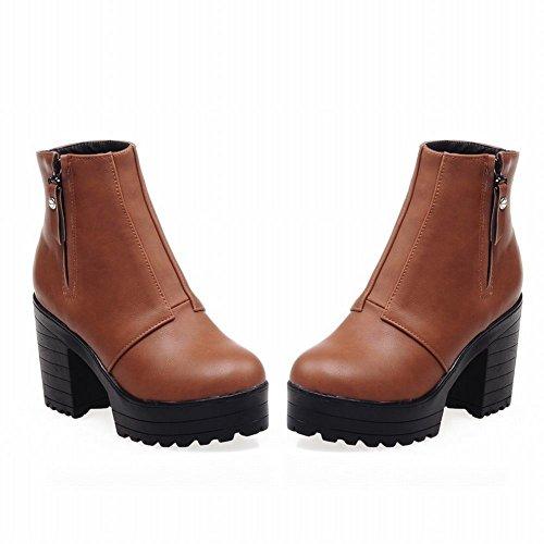 Carolbar Womens Zipper Retro Vintage Fashion Platform High Heel Short Boots Yellow Brown D2guq7