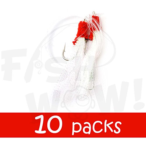 - Fish WOW! Fishing Shrimp Fly Rig - White - 10 Packs