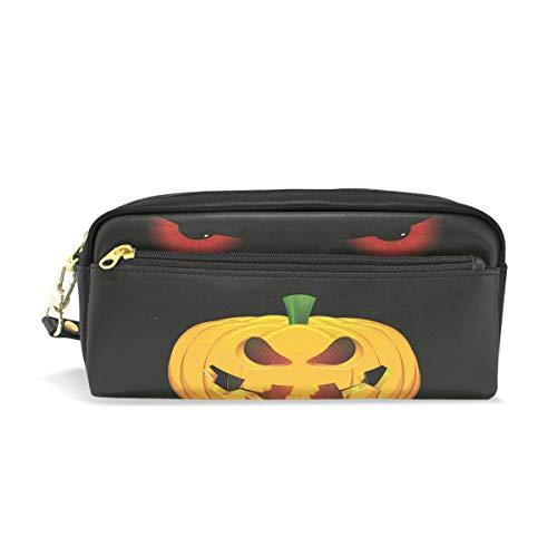 Leather Pencil Case Holder Halloween Pumpkin Cat Eye Pen Pounch Womens Cosmetic Makeup Bag