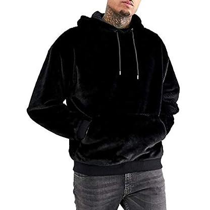 iWoo Men's Warm Fleece Hoodie Fluffy Pullover Viscose Sweater Sweatshirt with Two Pockets 1