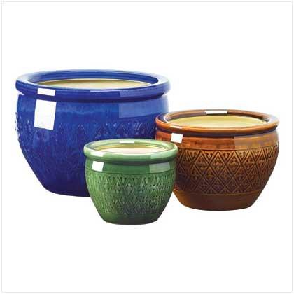 Gifts & Decor Jewel Tone Flower Pot Trio Embossed Earthenware Planter 3 Garden Pots