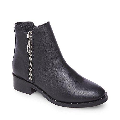 Steve Madden Women's Lanna-S Ankle Boot, Black Leather, 6 M (Steve Madden Flat Boots)