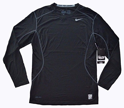Nike Men's Pro Combat Core Fitted 2.0 Long Sleeve Shirt, Black/Grey, Large