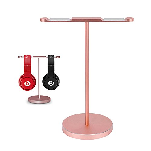 ElementDigital Headpone Stand Dual Headset Mounts Holder Metal Earphone Stand Holder Hanger with Flexible Headrest ABS for Gaming Headset Desk Home Office Classroom Exhibition (Rose Gold)