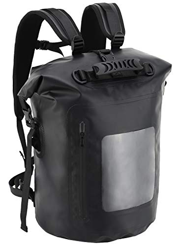 MIER Large Waterproof Backpack Roll Top Dry Bag for Kayaking, Boating, Rafting, Surfing, Swimming, Easy Access Front Zippered Pocket, Padded Back Support and Cushioned Adjustable Straps,40L,Black