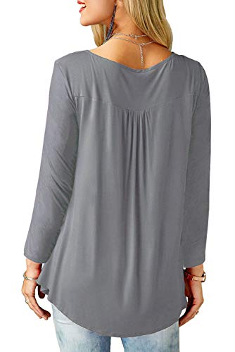 Femme Pliss Blouse Bequemer Uni Col Bouton Longues V Laden T Tops Shirt Row Chic Tee Casual Shirt Gris Manches Loose 66R7tw