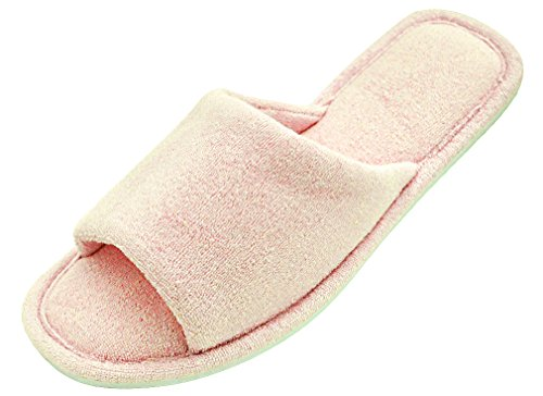 MIXIN Women's Open Toe Terry Cloth Memory Foam Anti-slip House Slippers