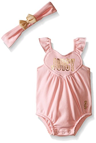 Juicy Couture Baby Girls' Solid Interlock Sun Suit with Headband, Pink, 18 Months