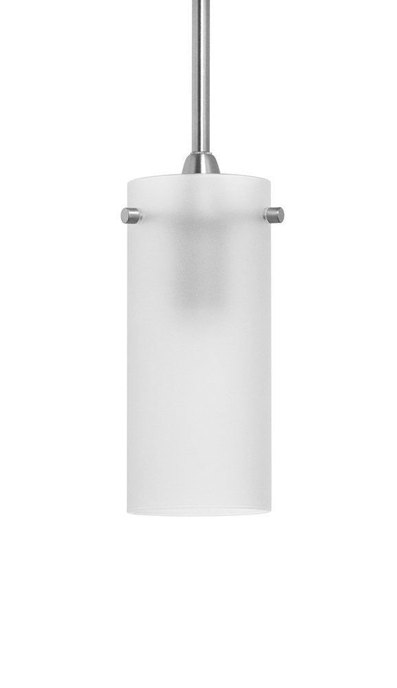Effimero Small Pendant Light Industrial Frosted Glass -Brushed Nickel- Linea di Liara LL-P316F-BN by Linea di Liara