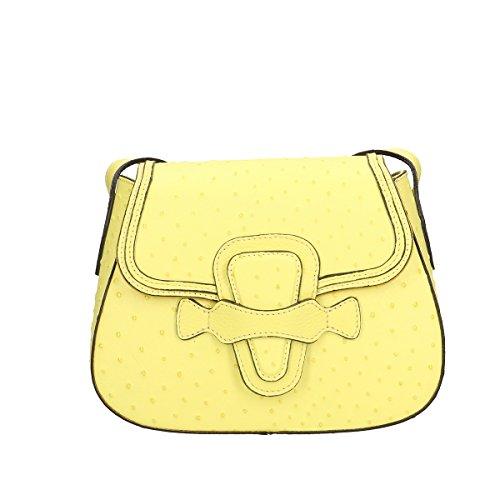 Chicca Borse Piel genuina bandolera 25x17x2 Cm amarillo