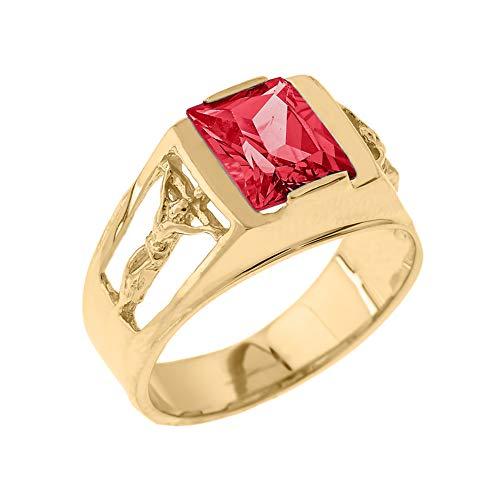 Men's Fine 14k Yellow Gold Personalized Crucifix Band CZ July Birthstone Statement Ring (Size 11)