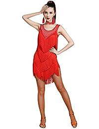 Z&X Women's Sleeveless Rhinestone Embellished Fringe Flapper Latin Dance Dress Large Red