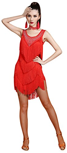 Z&X Women's Sleeveless Rhinestone Embellished Fringe Flapper Latin Dance Dress X-Large Red