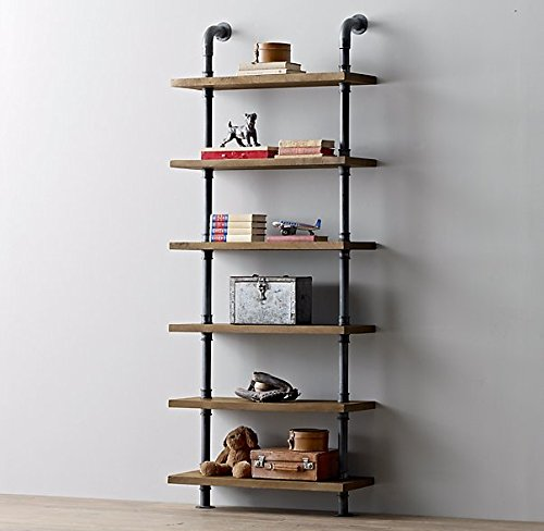 Price comparison product image Industrial Pipe Design Metal & Wood Shelf Ann