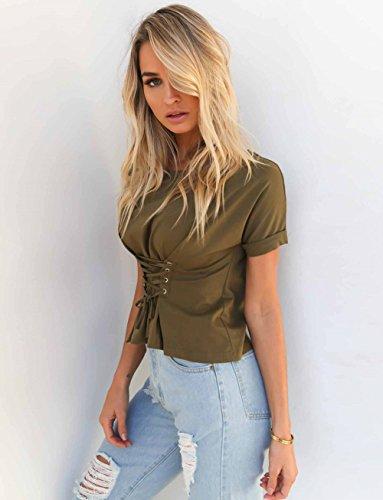 Minetom Mujer Camiseta Casual Color Solido Cuello Redondo Mangas Cortas Blusa Cuello Redondo Cintura Tiras Tops T Shirt Verde
