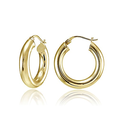 Hoops & Loops Flash Plated Gold Sterling Silver 4mm Polished Round Hoop Earrings, 20mm