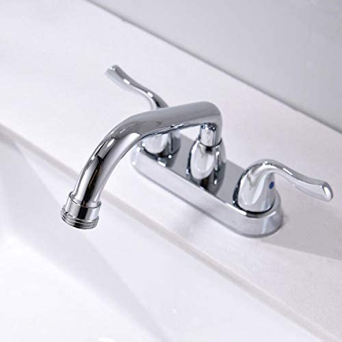 with Swing Spout and Hose end by Phiestina BF25-7-BN Brushed Nickel 2 Handles 4 Inch Centerest Threaded Spout Utility Sink//Laundry Faucet