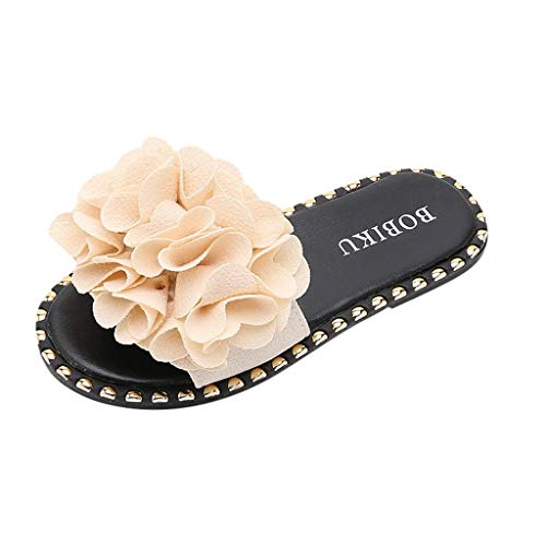 Tantisy ♣↭♣ Baby Girls Summer Casual Slippers/Kids Sandals Non-Slip Water Shoes/Big Flower Candy Color Flat Shoes Beige
