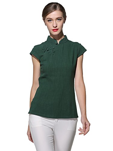 Bitablue Women's Linen-Cotton Blend Cap-Sleeve Oriental Blouse (Dark Green, Large)