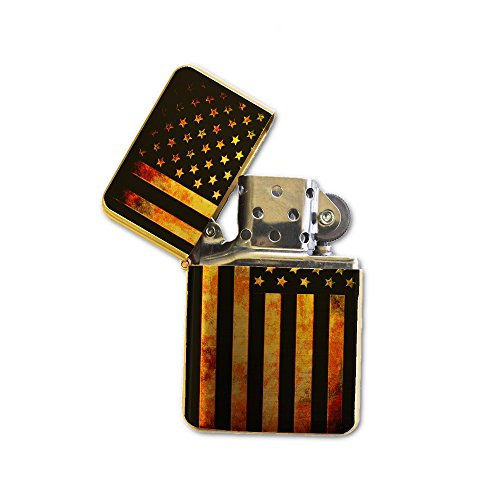 American Flag Grunge Metal - Gold Lighter Windproof Flip-Top Refillable with tin Gift Box ()