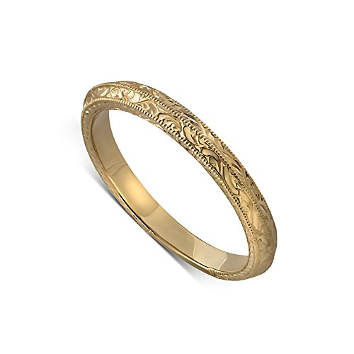 Gold Soft Knife Edge Engraved Double Milgrain Wedding Ring 2.5mm Wide - Edge Milgrain Wedding Ring