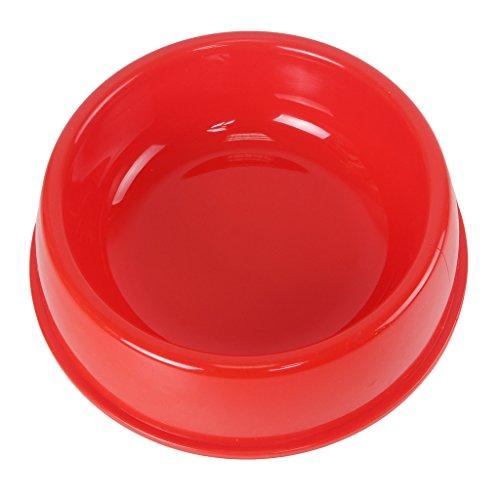 MNBS Lightweight Dog Bowl Plastic Pet Feeding Food Water Dish X-Small Red